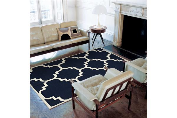 Flat Weave Large Moroccan Design Rug Navy 320x230cm