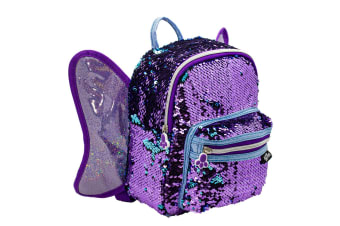 Glitter Critters Catch Me Sequin Kids Backpack w/Compartments/Straps Butterfly