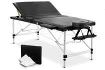Portable Aluminium 3 Fold Massage Table Chair Bed (Black) 80cm