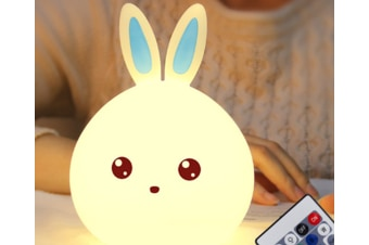 Select Mall Remote Control USB LED Creative Induction Rabbit Night Light Colorful Cute Rabbit Silicone Lamp-Blue
