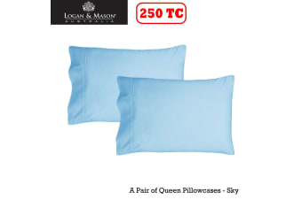 A Pair of 250tc Queen Pillowcases Sky by Logan and Mason