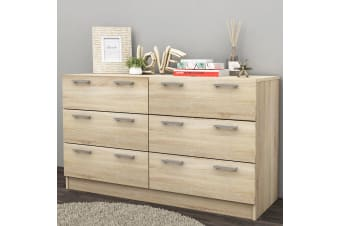 6 Chest of Drawers Table Cabinet Bedroom Storage Oak Dresser Tallboy