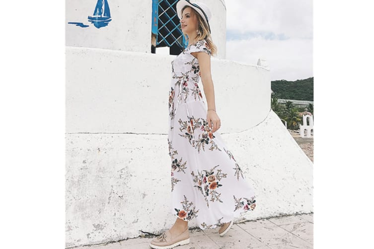 Womens Boho Long Maxi Dress Ladies V Neck Floral Casual Beach Party Dress Coffee L