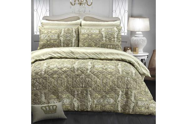 Park Avenue Microfiber Pinsonic Quilted Quilt cover set Queen Calico - Reversible