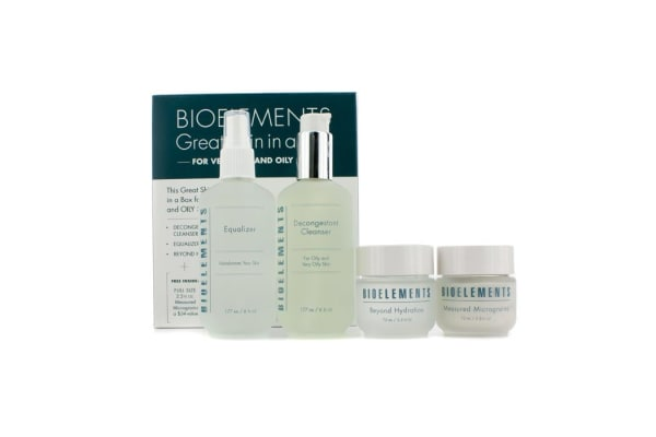 Bioelements Great Skin In A Box (Very Oily & Oily Skin): Decongestant Cleanser + Equalizer + Measured Micrograins + Beyond Hydration (4pcs)