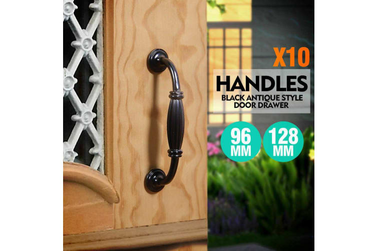 10x Black Antique Style Door Drawer Kitchen Handle Handles Pull 96mm