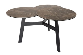 Misty 3 Tier Round Coffee Table | Black