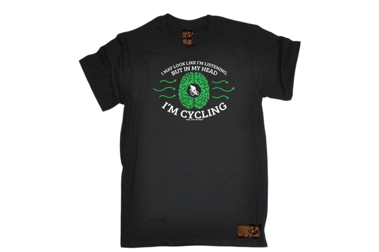 Ride Like The Wind Cycling Tee - I May Look Im Listening - (X-Large Black Mens T Shirt)