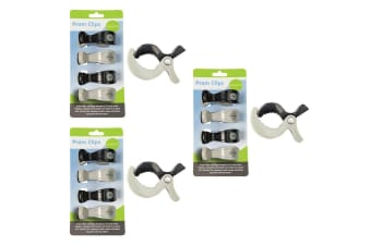 12PC Playette Baby Clips/Pegs Mount Frame for Cot/Toys/Stroller/Pram/Canopy BLK