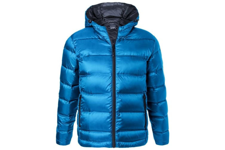 James and Nicholson Mens Hooded Down Jacket (Blue/Navy) (XL)