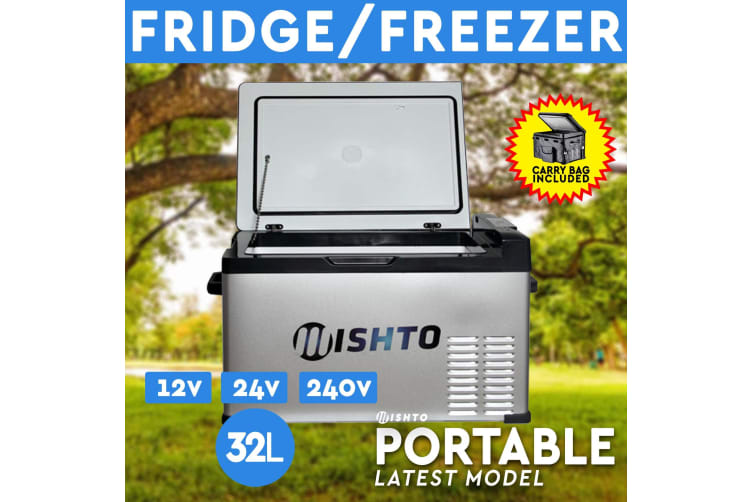 32L Portable Fridge Freezer 12V/24V/240V Camping Car Boating Caravan Bar Fridge