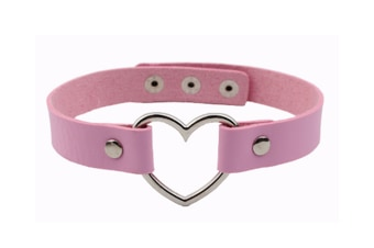 Vintage Punky Design Love Heart Pu Leather Choker Pink