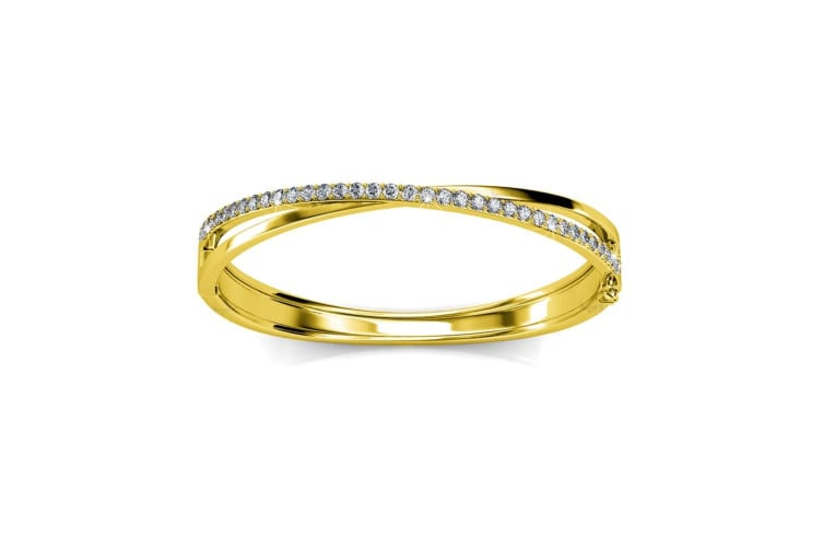 Boxed Perfection Bangle And Earrings Set Gold Embellished with Swarovski crystals