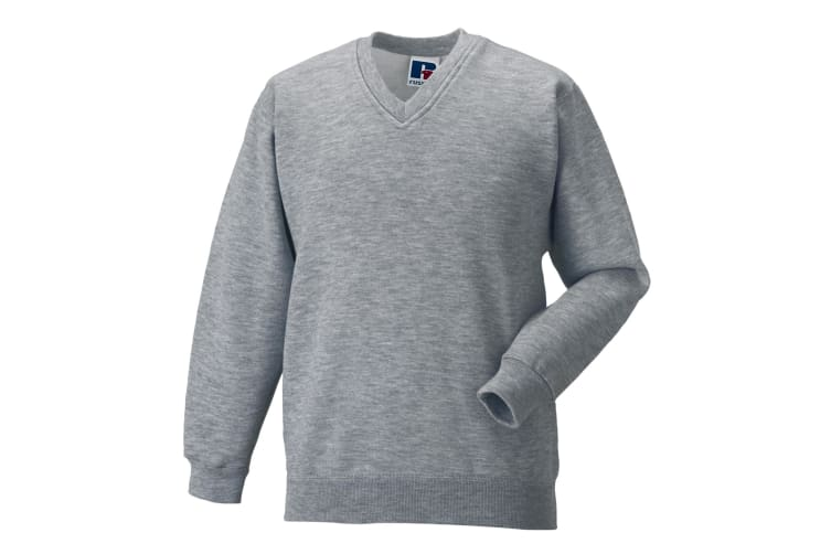 Russell Workwear V-Neck Sweatshirt Top (Light Oxford) (XL)
