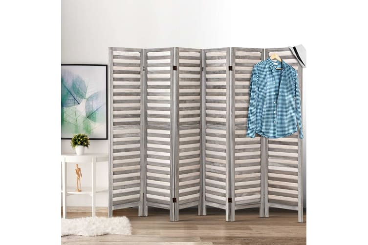 Artiss 6 Panel Room Divider Screen Privacy Wood Dividers Timber Stand Grey 170cm