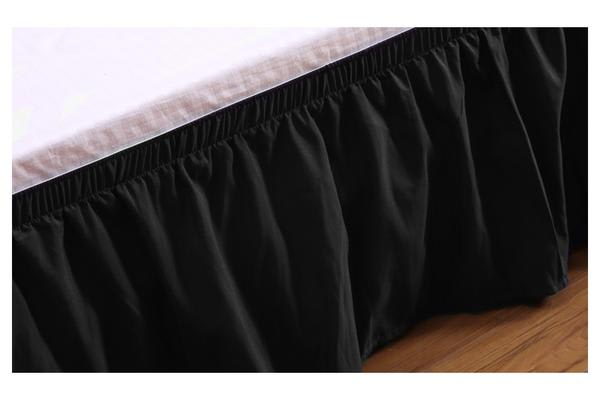 Elastic Bed Skirt Dust Ruffle Easy Fit Wrap Around Black King