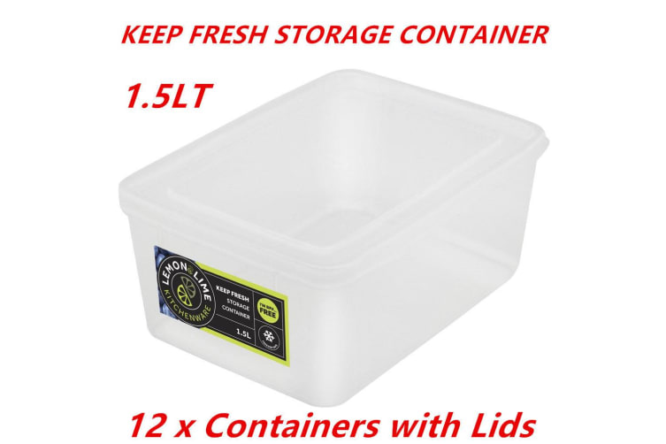 12 x 1.5L Rectangle Stack-able Plastic Food Storage Container Box Lid BPA Free Bulk