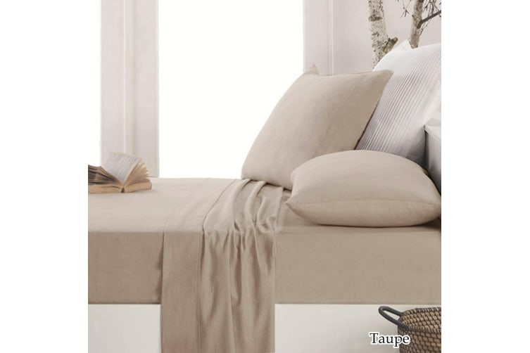 Easy-care Micro Flannel Sheet Set Taupe King Single