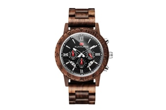 Select Mall Mens Wooden Watch Luxury Wood Strap, 12/24 Hours, Chronograph, Calendar & Date Dispaly, Quartz Casual WristWatches
