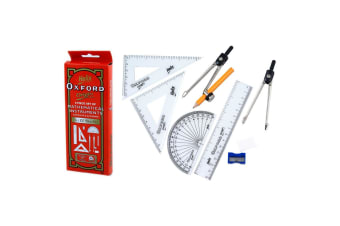 9pc Helix Mathematical Instruments Study Set School Ruler/Protractor w/Metal Box