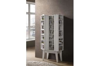 CD DVD Media Storage w/ Hidden Compartment Shelf Rack Cupboard Book - White Oak