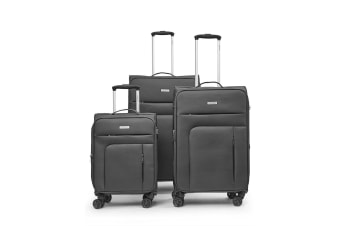 Conwood SureLite 3pc Suitcase Luggage Set Grey Soft Trolley Bag Lightweight