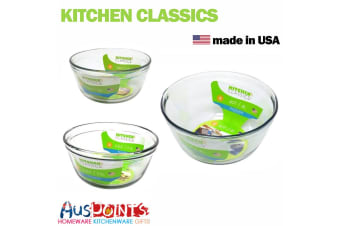 Kitchen Classics 3pc Glass Mixing Bowl Set Bakeware Measuring Tool
