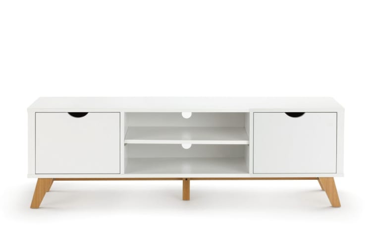 Ovela 2 Drawer TV Entertainment Unit - Finse Collection (150cm, White)