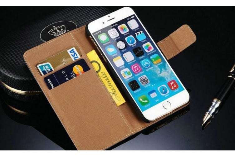 For iPhone 8 PLUS 7 PLUS Wallet Case Elegant Slim Luxury Leather Cover Blue