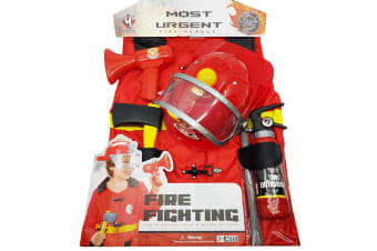 Fireman Dress Up Costume and Accessories Play Set