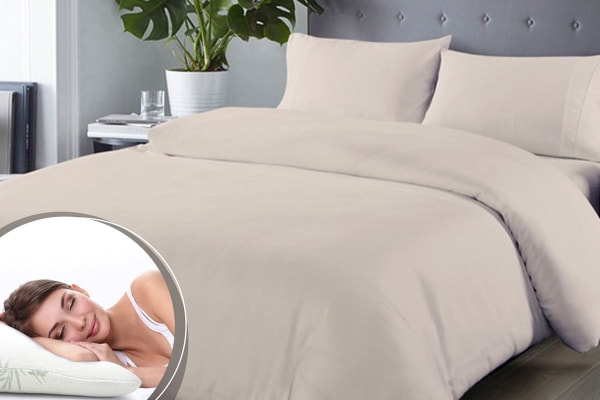 Royal Comfort Blended Bamboo Quilt Cover Set + Bamboo Pillow Twin Pack (Queen, Warm Grey)