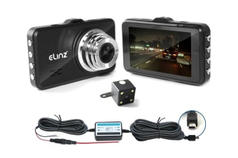 "Elinz Dash Cam Dual Camera Reversing Recorder WiFi DVR FHD 1296P Car Video 170deg 3"" LCD"