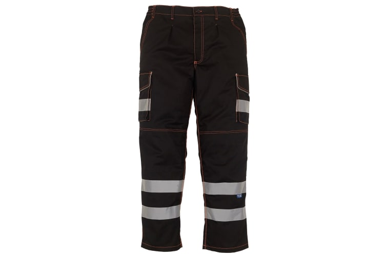 Yoko Mens Hi Vis Polycotton Cargo Trousers With Knee Pad Pockets (Black) (40L)