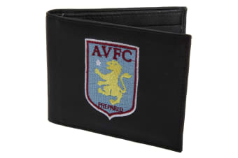 Aston Villa FC Mens Official Leather Wallet With Embroidered Football Crest (Black) (One Size)