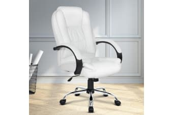 Artiss Office Chair Computer Chairs Executive Premium Padded PU Leather White