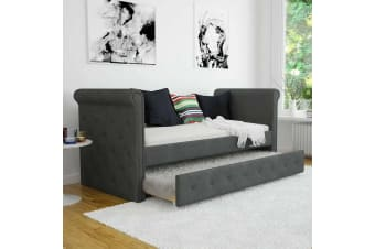 Gaiana 3 Seater Single Sofa Daybed w/ Trundle - Dark Grey