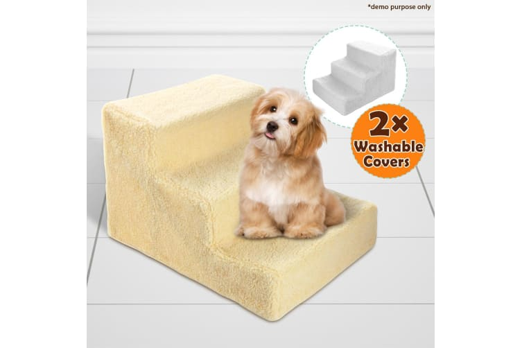 3 Steps Ladder for Small Dogs Including 2 Fur-like Covers