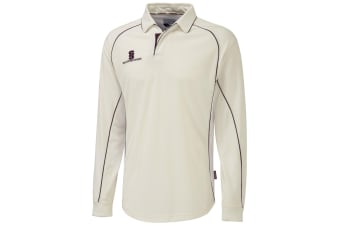 Surridge Mens/Youth Premier Sports Long Sleeve Polo Shirt (White/Maroon trim)