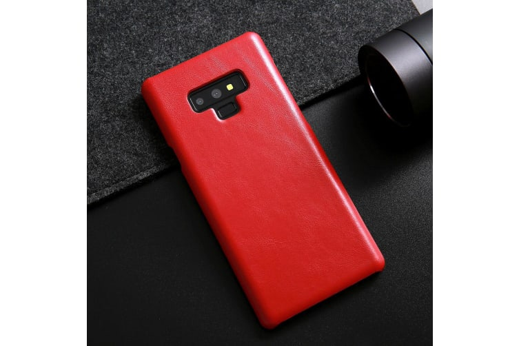 For Samsung Galaxy Note 9 Case Genuine Leather Back Thin Mobile Phone Cover Red