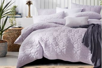 Gioia Casa Quilted Jersey Quilt Cover (King/Soft Lavender)