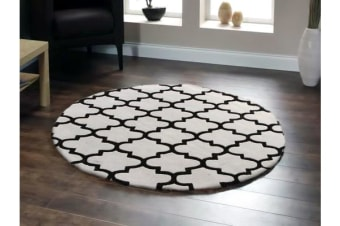 Lattice Off White And Black Round Rug