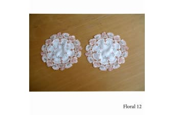 Set of 2 Embroidered Doilies Floral 12