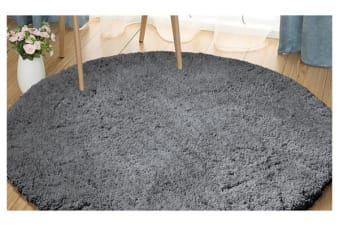 Luxury Soft Plush Thick Round Shaggy Floor Rug CHARCOAL