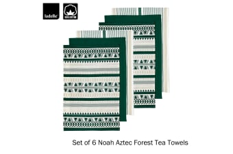 Set of 6 Noah Aztec Forest Kitchen / Cleaning 100% Cotton Tea Towels by Ladelle