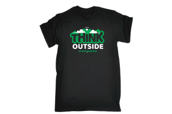 123T Funny Tee - Think Outside No Box Required - (X-Large Black Mens T Shirt)