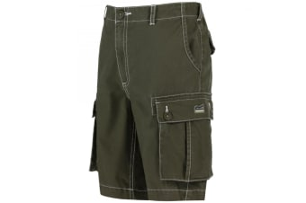 Regatta Childrens/Kids Shorefire Coolweave Cotton Canvas Shorts (Ivy Green)