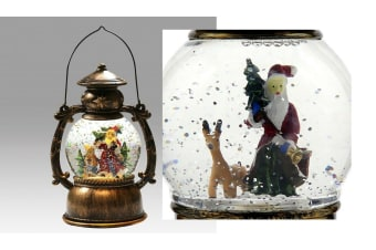 Christmas LED Light Metal Lantern Xmas Snow Deer Santa Globe Glitter Confetti