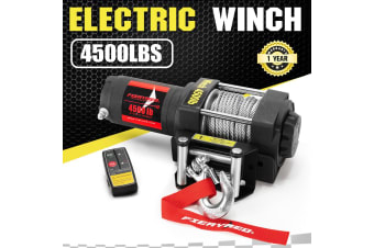 FIERYRED Wireless 4500LBS/2041kg 12V Electric Winch Boat ATV 4WD Steel Cable W/ Remote