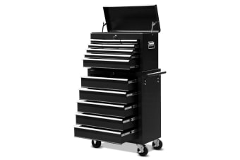 Black 14 Drawers Storage Tool Box with Ball Bearing Sliders