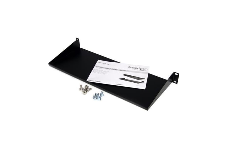 StarTech.com 1U 7in Depth Universal Fixed Rack Mount Shelf – 33lbs / 15kg